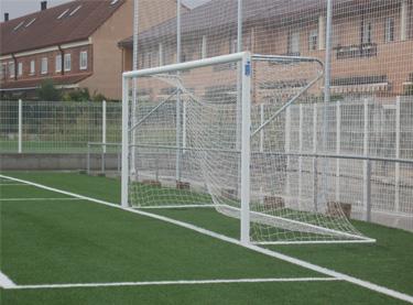 Portería de aluminio fútbol 11 empotrada con arquillos superiores (EFPA009/EFPA012)