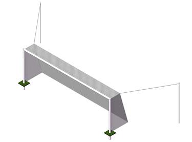 Portería de aluminio fútbol 7 empotrada con postes traseros (EFPA001)