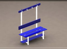 EBV 015 – One sided bench with shoe rack, seat back and coat hooks (Steel – phenolic)