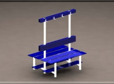 EBV 016 – Double sided/back to back bench with shoe rack, seat back and coat hooks (Steel – phenolic)