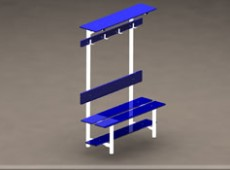 EBV 017 – One sided bench with above rack for bags, shoe rack, seat back and coat hooks (Steel – phenolic)