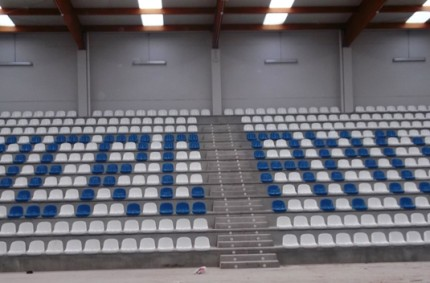 Seats and scoreboard in Huercanos, La Rioja