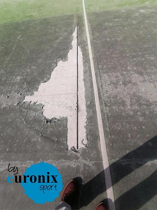 reparacion cesped artificial y redes porteria en pista multideporte